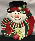 Fitz and Floyd Merry Christmas Snowman Canape Plate W/box Snack Candy Sweets