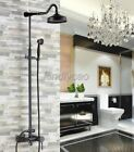 Black Oil Rubbed Brass Wall Mounted Rainfall Bath Rain Shower Faucet Set Krs601