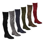 Womens Stretchy Snug Fit Over Knee High Pull On Block Low Heel Boot