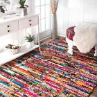 nuLOOM Hand Made Bohemian Cotton Chindi Area Rug in Red Blue Green Multi