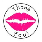 48 THANK YOU PINK LIPS ENVELOPE SEALS LABELS STICKERS 12 ROUND