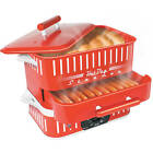 Electric Hot Dog Steamer Food Cooker Grill Roller Countertop Machine w/ Lid New
