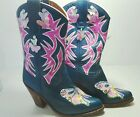 Hand Painted butterfly sequined Turquoise Pink Cowboy Western Hippie Boots 7