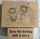 2 House Mouse Rubber Stamps LEMON LIPS  SORRY THIS BIRTHDAY WISH IS TART Y