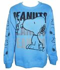 Peanuts Junior Womens Snoopy and Woodstock Crewneck Pull Over Sweatshirt Blue