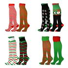 TeeHee Christmas Holiday Fun Over the Knee High Socks for Women 2 Pack Stripes