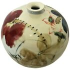 Chinese Ball Vase in White Porcelain and Brush Painted Lotus Flower