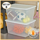 PLASTIC TOTE BOX 58 Qt Clear Stackable Container Bin Storage With Lid SET OF 8