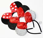 3 Minnie Mouse Red Silver Bow Mickey Mouse Ears Headband Disney adult kid