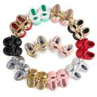 US Toddler Girl PU Leather Moccasin Crib Shoes Baby Kids Soft Sole Bowknot Shoes