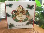 Santa with Wreath by FITZ & FLOYD Canape Plate In Original Box