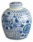 Antique Style Blue and White Porcelain Flowers Ceramic Covered Jar Vase, Chin...