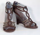 Gold  Brown Wedge SANDALS Shoes 75 Zip Back Trendy  Stylish DOLLHOUSE