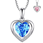 925 Sterling Silver CZ Crystal Heart Love Pendant Necklace 18 Chain Gift Box J3