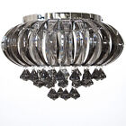 EX STORE DISPLAY Decorative 3 Lt Flush Ceiling Lighting Black Chrome Litecraft