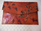 Handmade Leather Purse Handbag made India Vintage Culture 7 wide x 11 long MINT