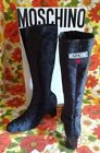 Moschino Love Chic Black Velour Stretch Heeled Mod Go Go Boots 38 455 with Box