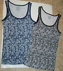 Lot of 2 Tank Top Shrts WOMENS Black & Blue Floral XS RIBBED
