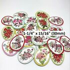 FLORAL 2 hole Egg shaped Wood Buttons 1 1 4 x 15 16 30x21mm Scrapbook 1163