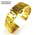 Gold Tone Steel Metal Bracelet Replacement Watch Band Strap Push Butterfly Clap