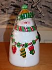 Oneida Festive Snowman Cookie Jar, cellophane Red, green, gold, white, preowned