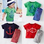 2PCS Toddler Baby Boy Short Sleeve Top T shirt+Striped Shorts Outfit Set Clothes