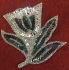 Vintage Beaded Sequin Appliqu Tulip Flower Silver Black Blue 3 1 2 Tall Sew On