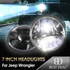 2x 7 Inch Round LED Headlight Hi Lo Beam For Jeep Wrangler 1997 2016 JK CJ TJ