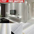 3D 10m Brick pattern White Textured Non woven Flocking Wallpaper Wall Paper Roll