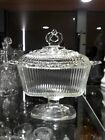 JUST REDUCED!! Vintage Indiana Glass Lace Edge Clear Covered Compote Candy Box