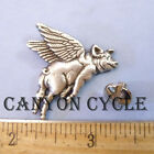 SILVER FLYING PIG CONCHO PIN SCREW BACK BELT STRAP PIGS ON THE WING FLOYD VEST