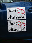 2 JUST MARRIED CAR MAGNETIC SIGNS 8X12 2 Color w Hearts FREE SHIP Wedding
