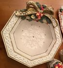 Fitz And Floyd Classic Snowy Woods Octagonal Canape Plate Disc'd Fitz