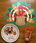 Kids Thanksgiving TURKEY GIVE THANKS 3 PC DINNERWARE SET Plate Dish Cup Placemat