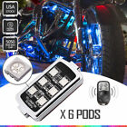 6pcs LED Motorcycle Motor Wheel  Accent Light UnderBody Kit Remote Control