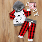 US Stock Kids Baby Boy Girl Hooded Tops + Long Pants Christmas Outfits Set 0 24M