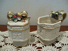 Fitz and Floyd Snowy Woods Porcelain Holiday Sugar and Creamer Set - IOB