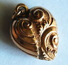 ANTIQUE Victorian 9ct Gold Puffy Heart Repousse Engraved Charm