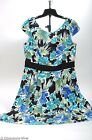 AGB Dress sz 16 Gorgeous Blue Floral Dress Pleated Skirt Fitted Bodice Mint 4376
