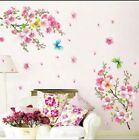 3D Pink Removable Peach Plum Cherry Blossom Flower Butterfly Wall Decal