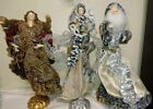 VINTAGE LARGE 3 CHRISTMAS NATIVITY FIGURES HANDCRAFTED ANGELS AND SANTA
