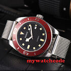 43mm PARNIS black dial red bezel sapphire glass automatic mens wrist watch P591