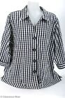 Foxcroft 18W Blouse Shaped Stretch Black Check 3/4 Sleeve Button Down Mint 6120