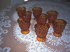 Lot of 8 Vintage Small Amber Tiered Drinking Glasses Footed 4.5