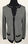 NWT Lands End Womens Supima Pocketed Cardigan Black Houndstooth M Tall AK2