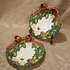 Lot of 2 Vintage Fitz & Floyd Porcelain Christmas Wreath Plates with Bows - 1995