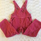 Girls Vintage LL BEAN Pink Corduroy Overall Bibs 100 Cotton Size XS