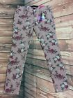 ALMOST FAMOUS WOMENS JUNIORS 11 VINTAGE PINK STRETCH SKINNY FLORAL JEANS NWT