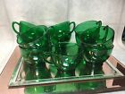 Anchor Hocking Forest Green Punch Bowl Cups  11 Pieces
