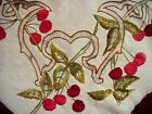 Vintage ARTS  CRAFTS Hand Embroidered Finished Canvas CHERRY Design CHERRIES